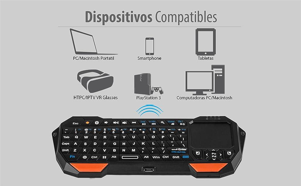 Fosmon Mini Teclado Bluetooth (Teclado QWERTY), portátil inalámbrico Ligero con Panel táctil Integrado, Compatible con Apple TV, PS4, Gafas ...