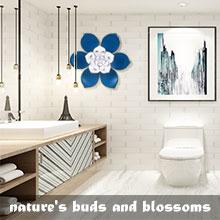 Wall Sculptures art metal flower bathroom