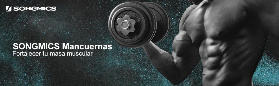 SONGMICS Juego de Mancuernas Ajustables de Hierro Fundido, con Barra Adicional,para Hombres y Mujeres, Entrenamiento de Fitness, Levantamiento de ...