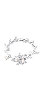 pearl flower wedding bracelet for women