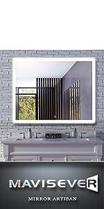 mavisever 48 x 36 inch backlit bathroom mirror wall mounted led light vanity mordern wall mirror