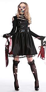 Halloween Zombie Miss Edward Scissorhands Devil Terror Fancy Dress Costume