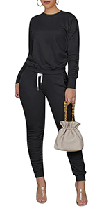Fall Loungewear Solid Color Jumpsuit Long Sleeve Tracksuits Matching Sets