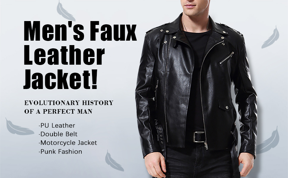 Men Coat Biker Pu Faux Leather Metallic Wet Look Shine Fashion Motorcycle Jacket
