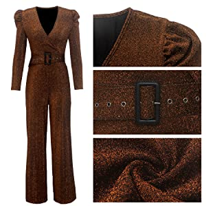 Sparkly Women's Jumpsuits and Rompers long sleeve Glitter Loose Wide Leg Pants with Belt