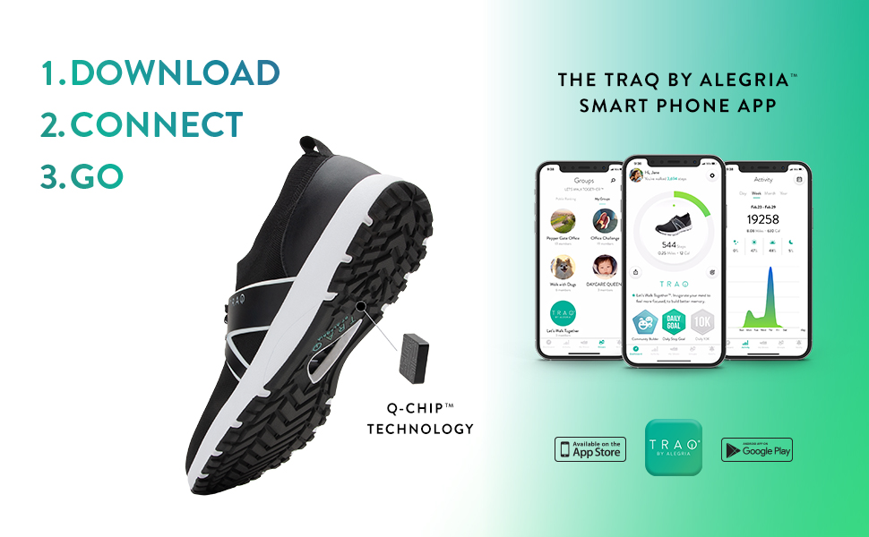 TRAQ by Alegria smart shoe with fitness tracking app and pedometer for iPhone and Android.