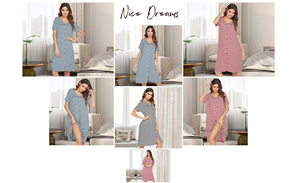 women stripes soft cotton sleep shirt nightshirts nightgowns
