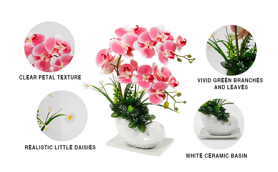 fake orchid pink with little daisy with ceramic pot