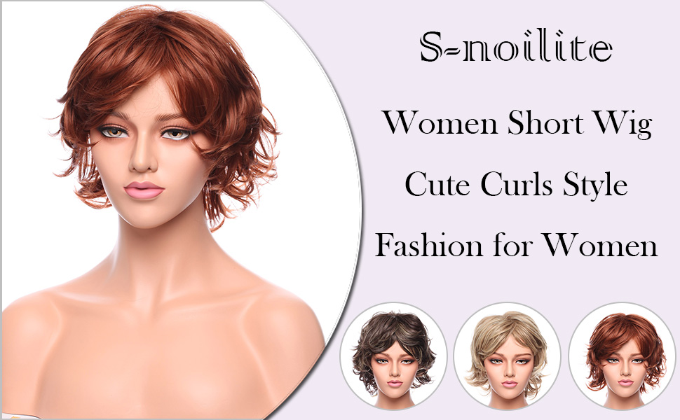 short copper red curly wig