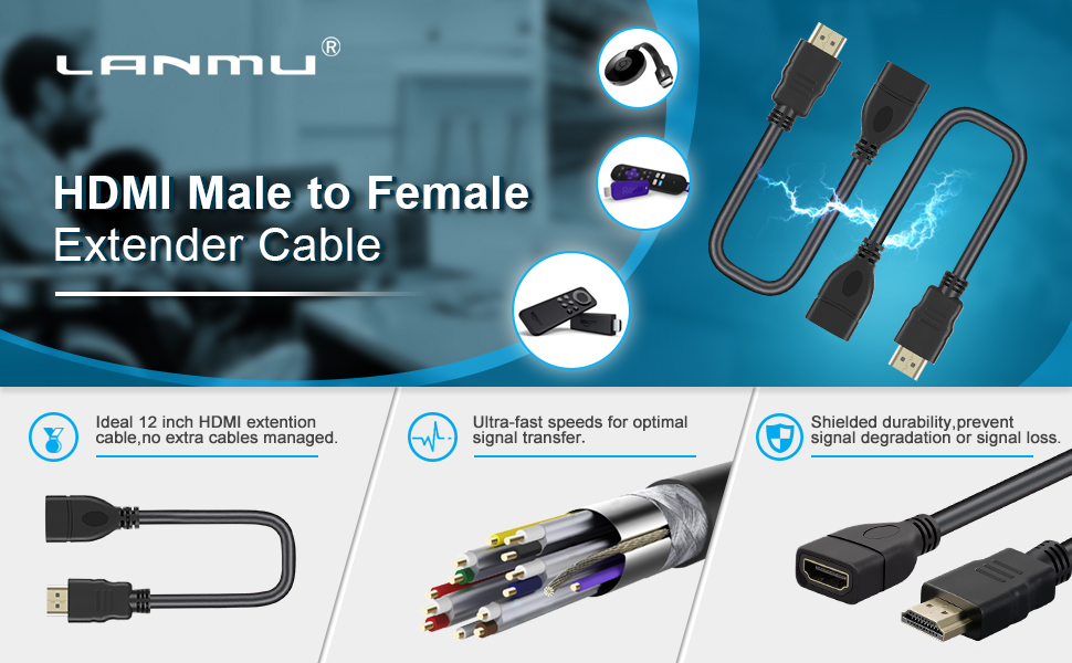 LANMU HDMI Extension Cable for Fire TV Stick Roku Streaming Stick Chromecast