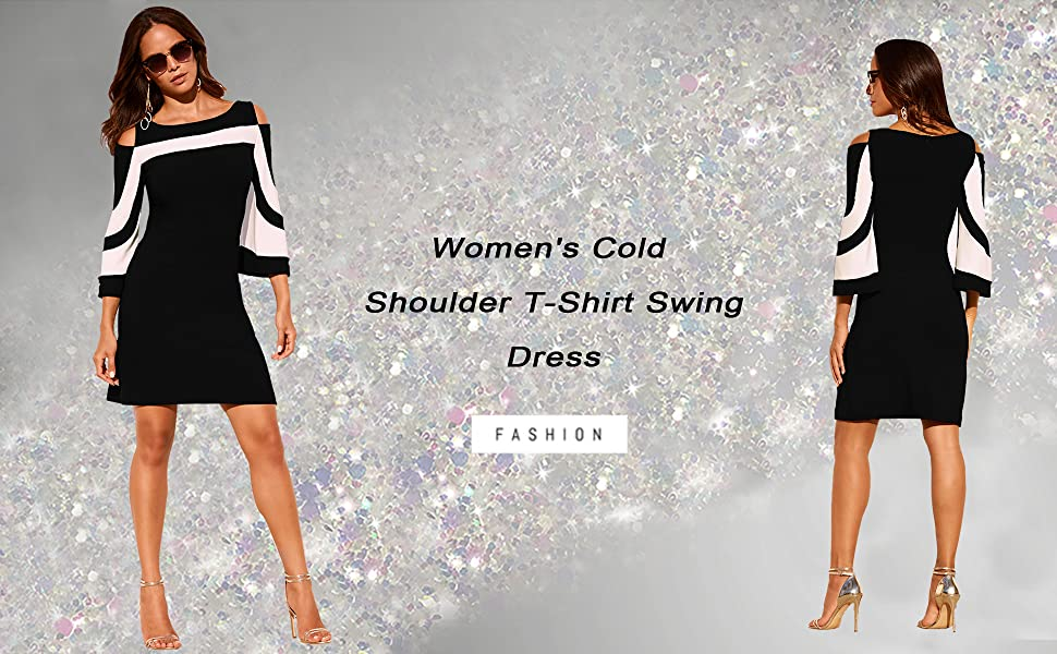 Women's Cold Shoulder T-Shirt Swing Dress