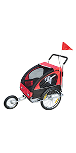 HOMCOM Remolque para Niños 2 PLAZAS con Amortiguadores Carro para Bicicleta CON BARRA INCLUIDA