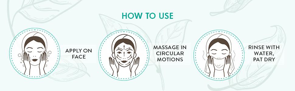 apply face massage circular motions rinse water pat dry