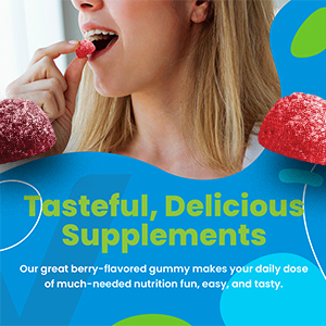 Our great berry-flavored gummy makes your daily dose of much-needed nutrition fun, easy, and tasty.