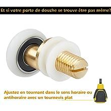 LESOLEIL 8pcs Galets Roulettes Rouleaux de Remplacement pour Porte de Douche Diam/ètre 25mm