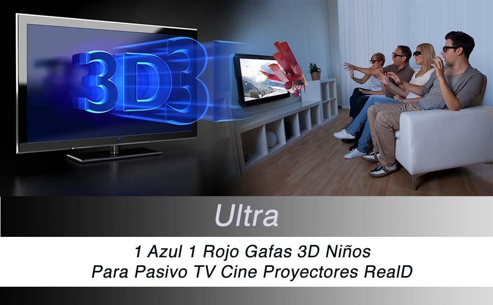 Ultra 1 Azul 1 Rojo Gafas 3D Pasivo para Niños para Uso con todas ...