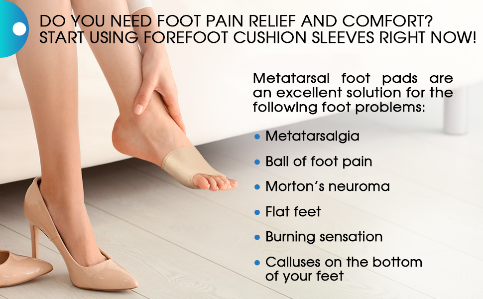 Metatarsal Foot Pads - Gel Foot Cushion - High Heel Pads - Soft Gel Inserts