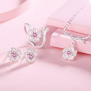 girls jewelry set hypoallergenic earrings dainty silver necklace adjustable rings promise statement