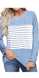 Womens Long Sleeve Color Block Stripe Shirt