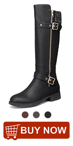 Womens Knee High Boots, Ladies Leather Riding Boots Autumn Winter Low Flat Heel Round Toe Long Boots