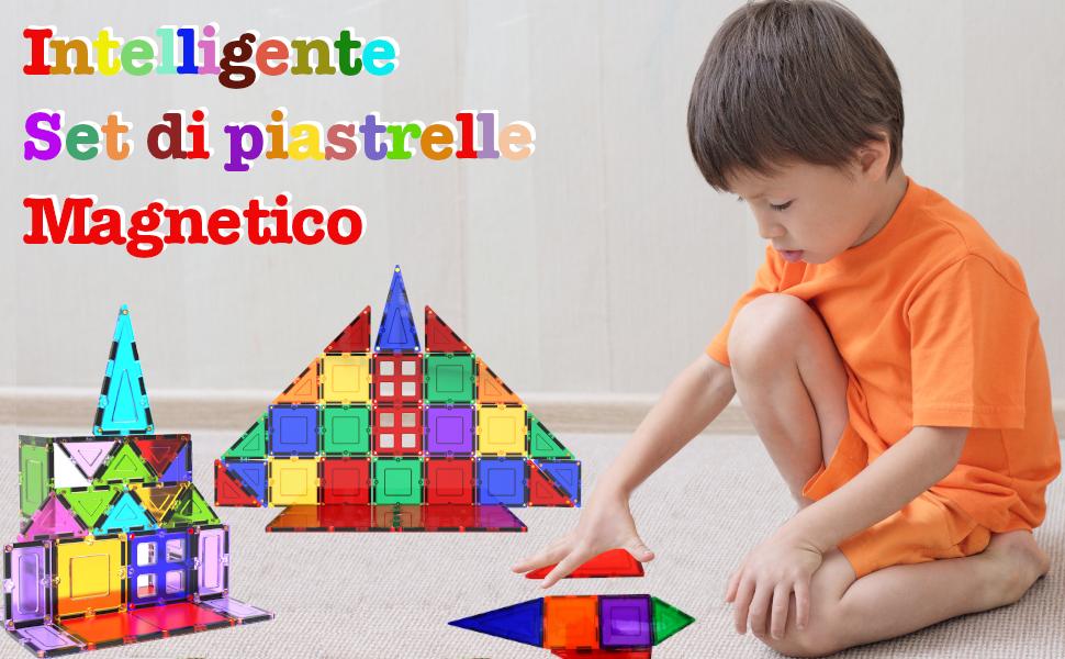 Et/à 3 4 5 6 7 anni Impara con le costruzioni Desire Deluxe Set tessere magnetiche Gioco Educativo per bambini e bambine 57 pz