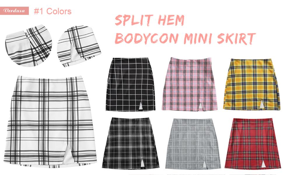 split hem mini skirt