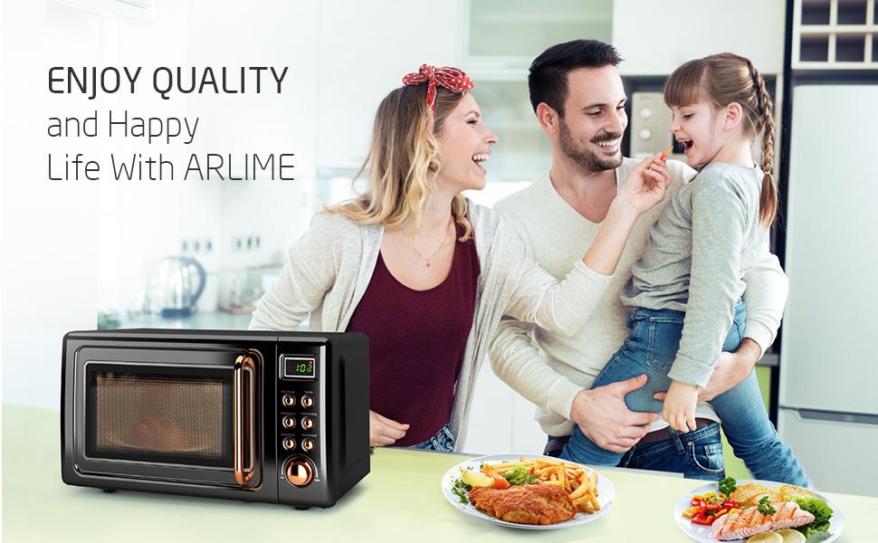 small Retro Countertop Microwave Oven