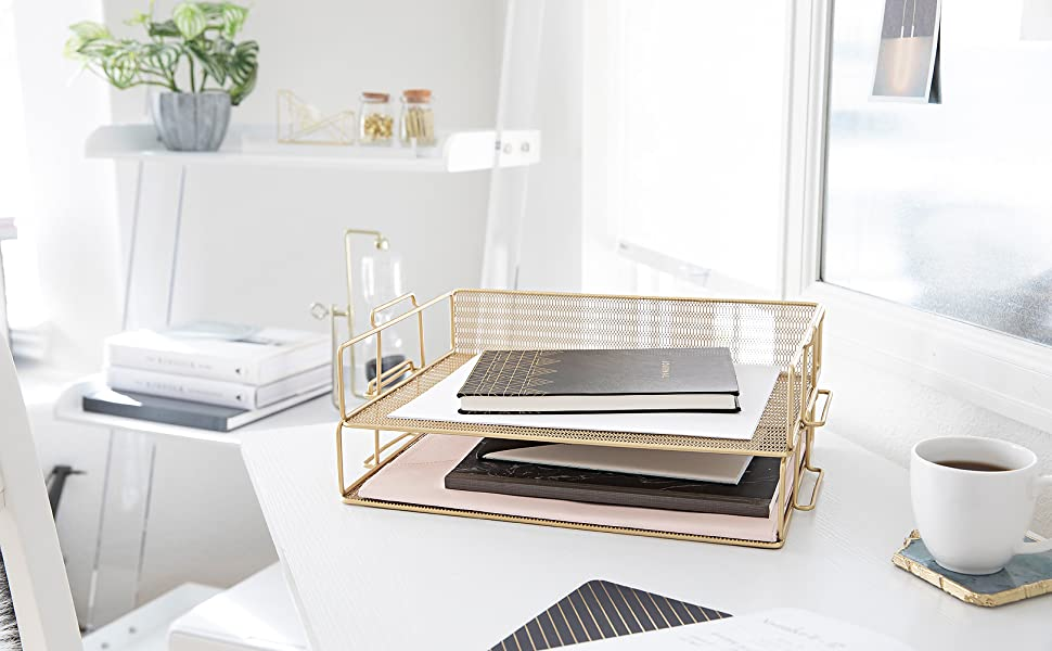 Gold Stackable Paper Trays
