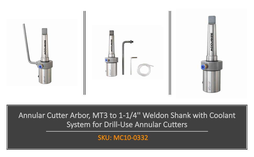 Annular Cutter Arbor, Mt3 to 1-1/4'' Weldon Shank with Coolant System for Drill-Use Annular Cutters