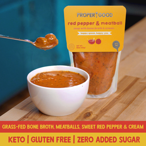 red pepper, meatball, soup, proper good, bone broth, keto, gluten free, high fat, low carb