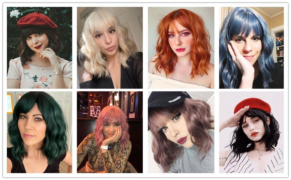 colored wavy bob wig