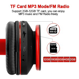 Mkay bluetooth headphones wireless over ear black-red-EBC-3