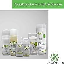 Vitalgreen desodorantes piedra cristal alumbre potasio belleza cuidado personal familiar