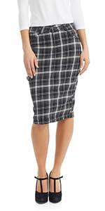 ESTEEZ Women's Jean Skirt - Knee Length - Stretchy - Pockets - Plaid - Melrose