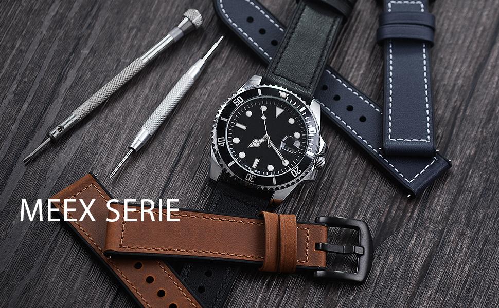 Fullmosa Uhrenarmband 22mm 20mm Leder Und Silikonarmband Smartwatch Armband Für Samsung Galaxy Watch Huawei Watch Garmin Forerunner Amazfit Sport Freizeit