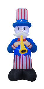 AJY 6 FT Patriotic Independence Day Inflatable Uncle Sam Playing the Trumpet
