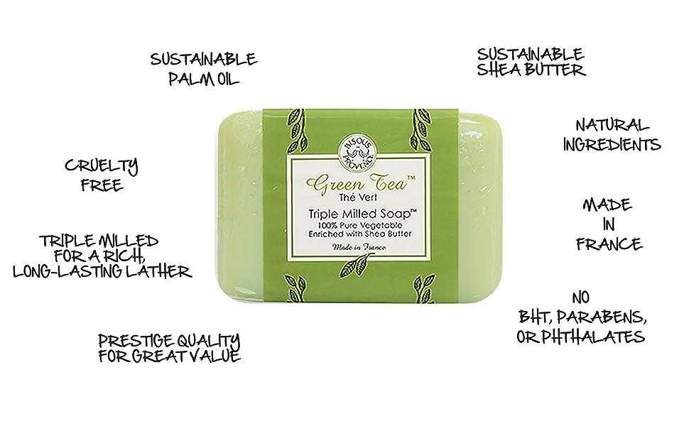 soap, milled, bisous de provence, l'occitane, trader joe, jabon, savon, natural, shea butter, clean