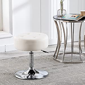 Duhome pu leather vanity stool makeup stool round ottoman