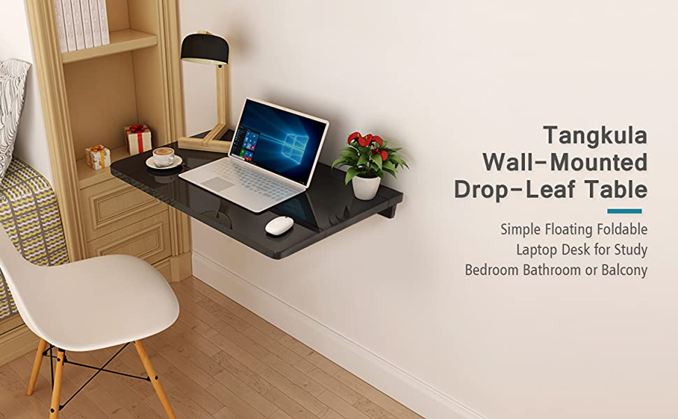 Amazon Com Tangkula Wall Mounted Drop Leaf Table Simple Floating Folding Laptop Desk Space Saving Hanging Table For Study Bedroom Bathroom Or Balcony 31 5 X 23 5 Lxw Black Kitchen Dining
