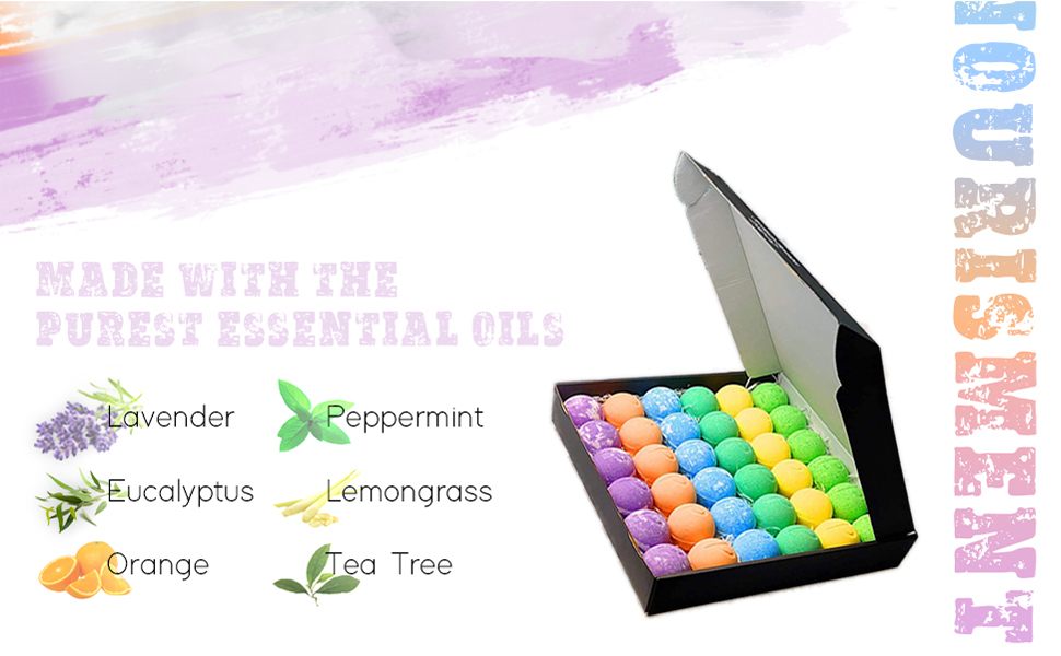 Made with the purest essential oils: lavender, Eucalyptus, peppermint, lemongrass, orange and t tree