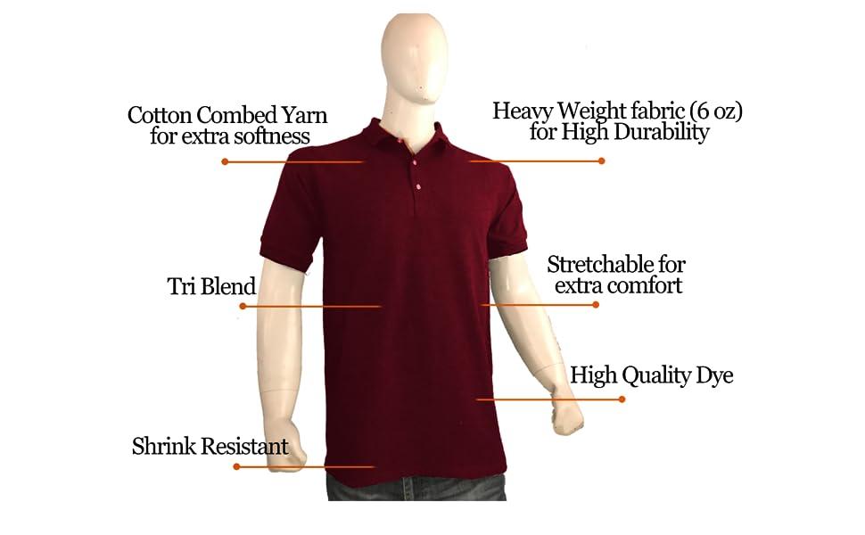 Men/'s BIG /& TALL LONG SLEEVE Polo Shirt Moisture Wicking XLT 2XLT 3XLT 4XLT 5XLT
