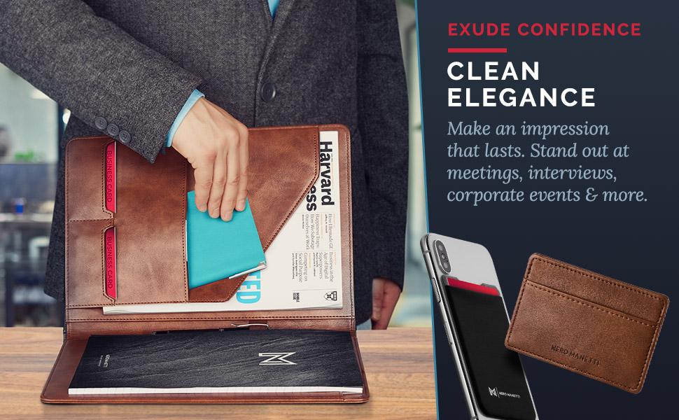 leather black portfolio padfolio notebook notepad holder pad