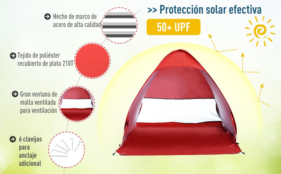 Outsunny Tienda de Campaña Pop-Up Instantánea y Portátil con Ventanas Tipo Refugio para Playa Picnic y Camping con Protección Solar UV