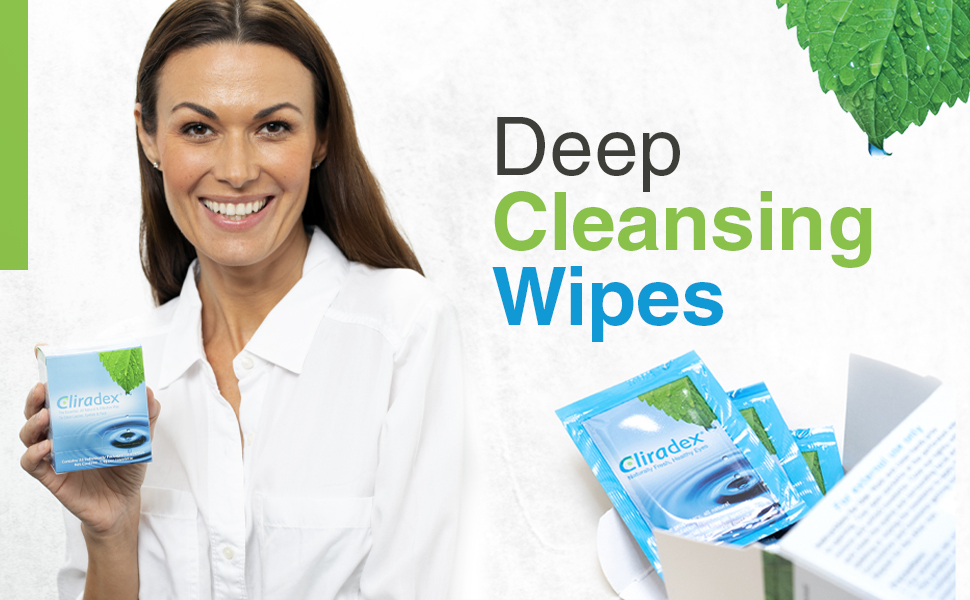 Cliradex towelettes natural eyelid cleansers with 4-terpineol extracted from tea tree oil