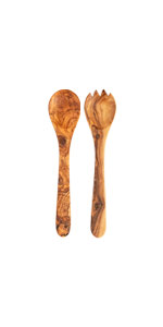 Tramanto Olive Wood Salad Servers Two Piece Set French Design