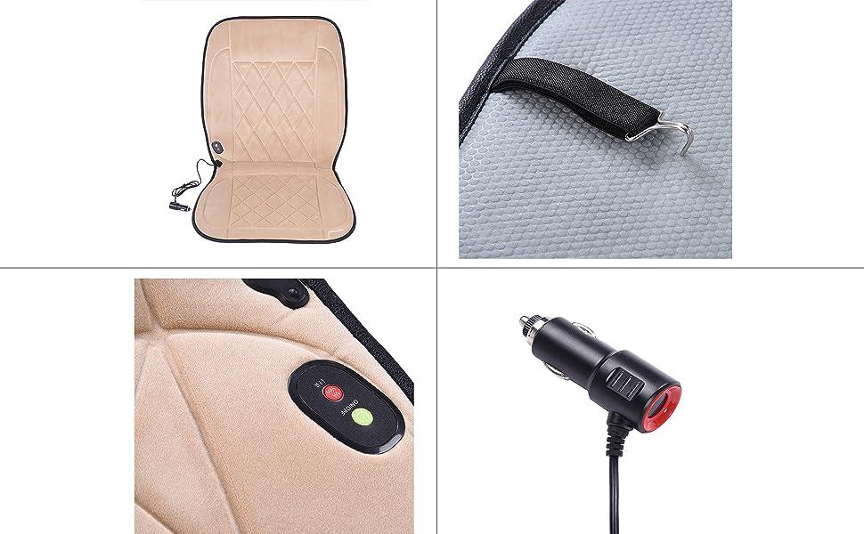超高品質ダイヤモンドカシミア暖房クッション 水洗い可の自動車座席シートヒーター 32W DC12V シガーソケット 二段階調節可能 30-60℃加熱 滑り止め工芸 愛車に高級感を与えます