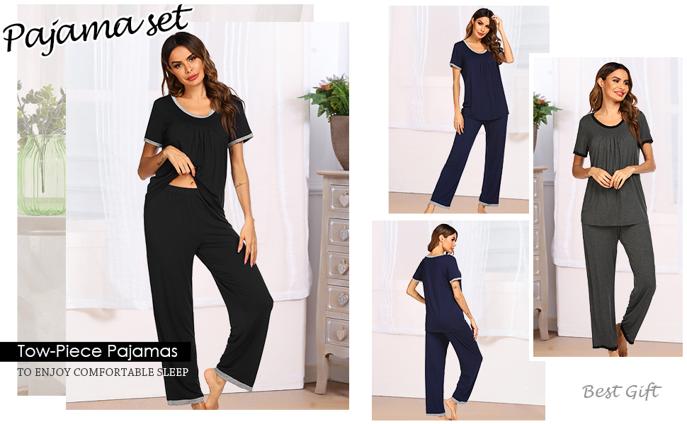 Sleepwear Pajama Pants for Women Set Cozy loungewear comfy Pajamas scoop neck pj set sleep wear