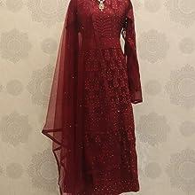 Embroidered Maroon Salwar Suit Material,suit dikhaiye,anarkali suit set for women,anarkali suit gown