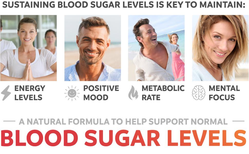 Natural Blood Sugar Support for normal levels - more energy, positive mood, metabolism, mental focus