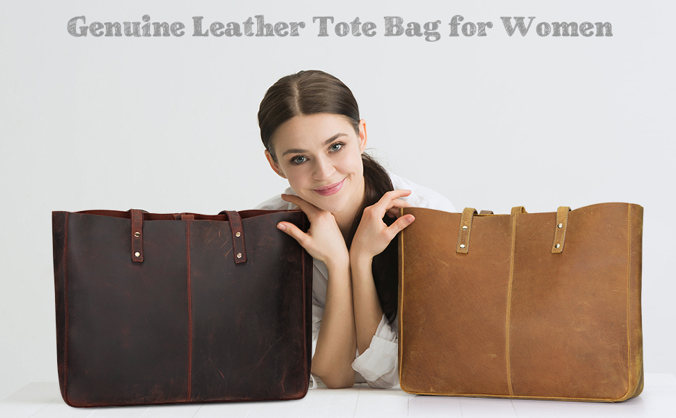 S-ZONE Genuine Leather Shoulder Tote Bag for Women Large Handbag Work Purse with Removable Pouch